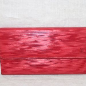 LOUIS VUITTON Trifold red Epi leather Wallet